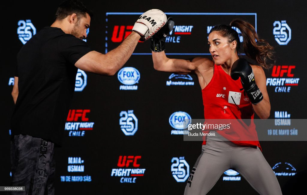 UFC women's strawweight contender Tatiana Suarez of the United States holds an open training session at Mall Sport on May 16, 2018 in Santiago, Chile.