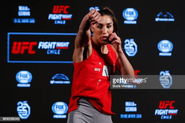 UFC women's strawweight contender Tatiana Suarez of the United States holds an open training session at Mall Sport on May 16 2018 in Santiago Chile