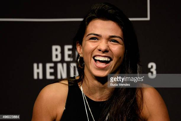 Women's strawweight fighter Claudia Gadelha of Brazil interacts with fans during a QA session before the UFC Fight Night weighin at Ibirapuera...