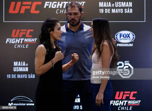 UFC womenÕs strawweight fighters Alexa Grasso of Mexico and Tatiana Suarez of the United States face off during Ultimate Media Day on May 17 2018 in...