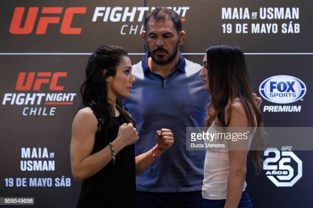 UFC women's strawweight fighters Alexa Grasso of Mexico and Tatiana Suarez of the United States face off during Ultimate Media Day on May 17 2018 in...