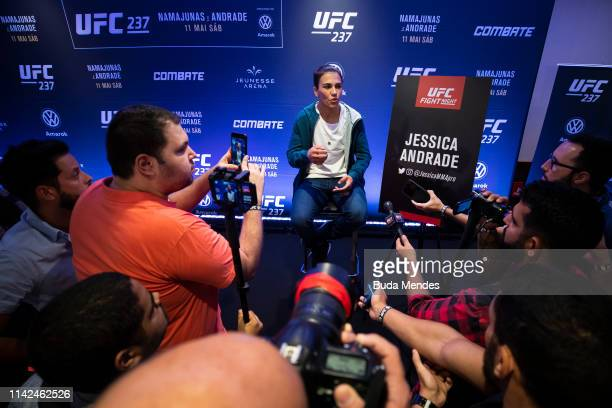 UFC women's strawweight Jessica Andrade of Brazil speaks to the media during Ultimate Media Day on May 09 2019 in Rio de Janeiro Brazil