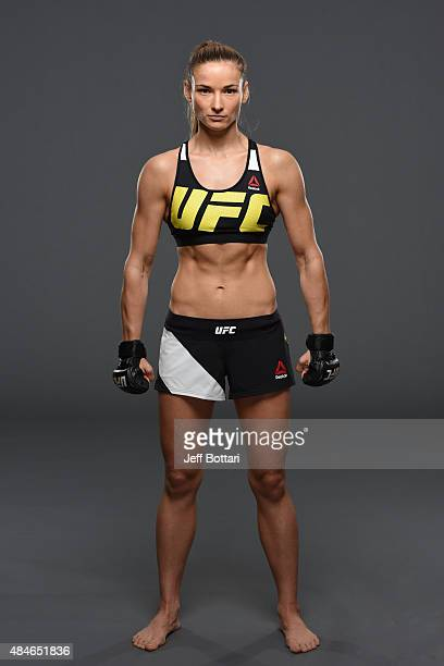 UFC women's strawweight Maryna Moroz of Ukraine poses for a portrait during a UFC photo session at the Saskatoon Inn Conference Centre on August 20...