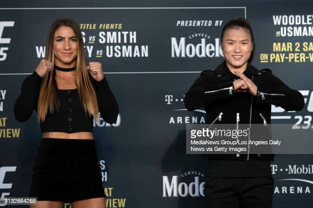 UFC women's strawweights Tecia Torres left and Weili Zhang during UFC 235 Ultimate Media Day at the TMobile Arena in Las Vegas NV Wednesday February...