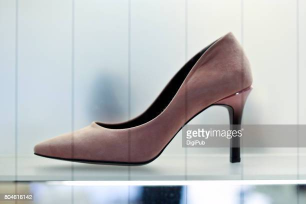 Women's Suede leather shoe, high heels, side view