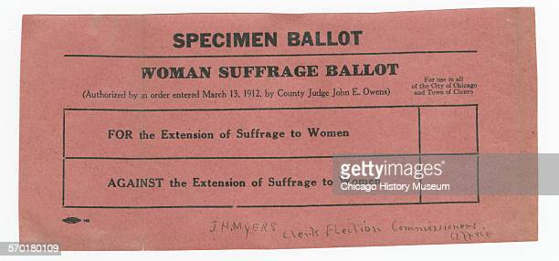 Women's suffrage ballot for the cities of Chicago and Cicero Illinois 1912