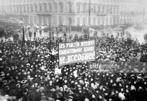 Women's Suffrage Demonstration on the Nevsky Prospect in Petrograd on March 8 1917 Found in the collection of Russian State Film and Photo Archive...