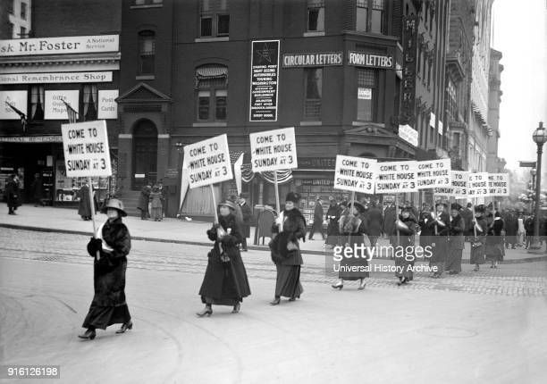 Women's Suffrage March with Signs inviting People to Protest at White House, Washington DC, USA, Harris & Ewing, 1917.