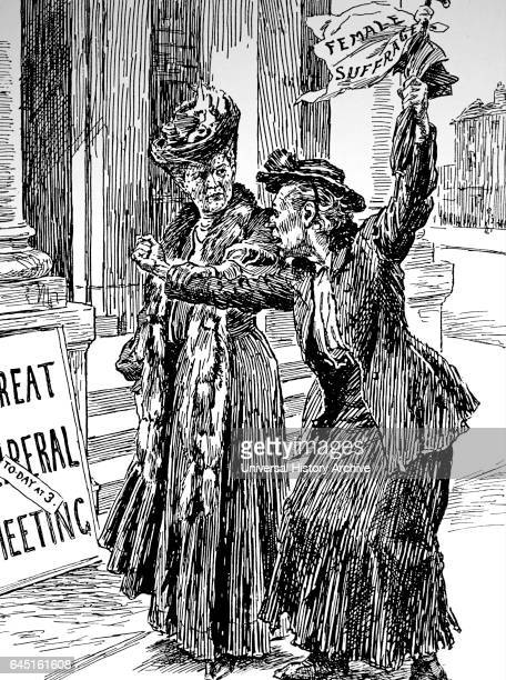 Women's suffrage Moderate suffragist anxious in case her SHRIEKING SISTER the militant suffragette hampers the fight to obtain the vote for British...