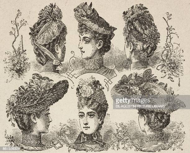 Women's summer hats illustration from Il Secolo Illustrato della Domenica Year II No 37 June 15 1890