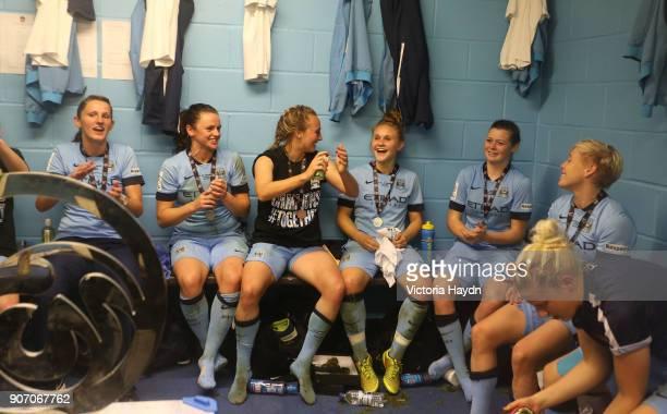 FA Women's Super League Continental Cup Final Arsenal v Manchester City Adams Park Manchester City's women's team celebrating winning the Continental...