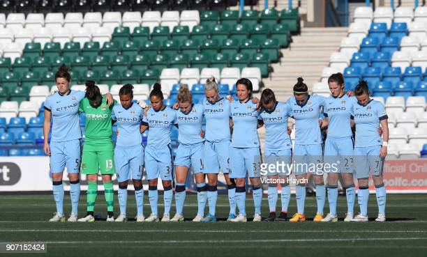 FA Women's Super League Liverpool Ladies v Manchester City Select Security Stadium Manchester City's squad observe a minute's silence held for...