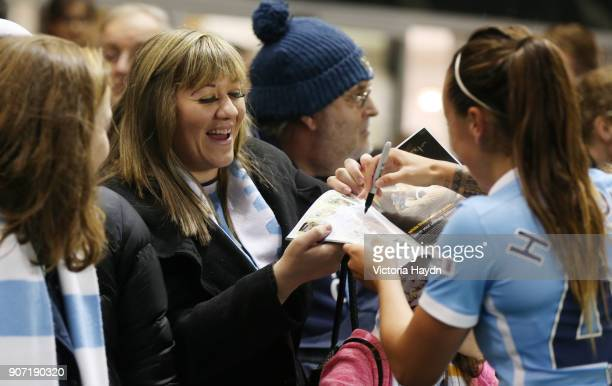 Women's Super League Manchester City Ladies v Notts County Ladies Academy Stadium Manchester City players sign autographs for fans after the game