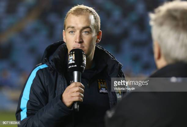 Women's Super League Manchester City Ladies v Notts County Ladies Academy Stadium Manchester City Women manager Nick Cushing addresses the fans after...