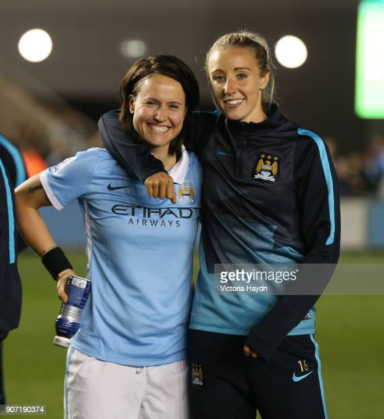 Women's Super League Manchester City Ladies v Notts County Ladies Academy Stadium Manchester City's Paula Radtme and Emma Lipman after the game
