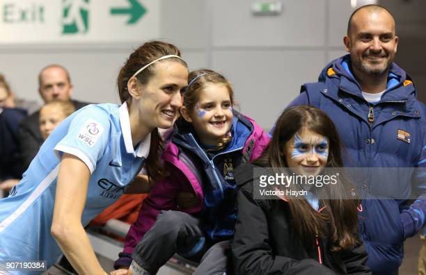 Women's Super League Manchester City Ladies v Notts County Ladies Academy Stadium Manchester City's Jill Scott poses for a photo with fans after the...