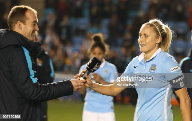 Women's Super League Manchester City Ladies v Notts County Ladies Academy Stadium Manchester City Women manager Nick Cushing and Steph Houghton...