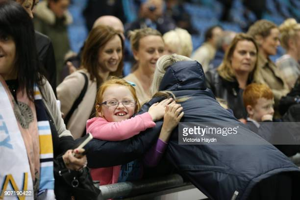 Women's Super League Manchester City Ladies v Notts County Ladies Academy Stadium Manchester City's Toni Duggan hugs a young fan after the game