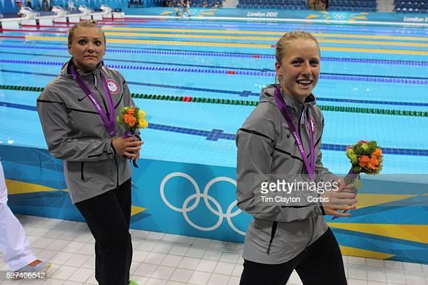 Women's Synchronised 3m springboard diving competition silver medal winners Abigail Johnson and Kelci Bryant USA at the Aquatic Centre at Olympic...