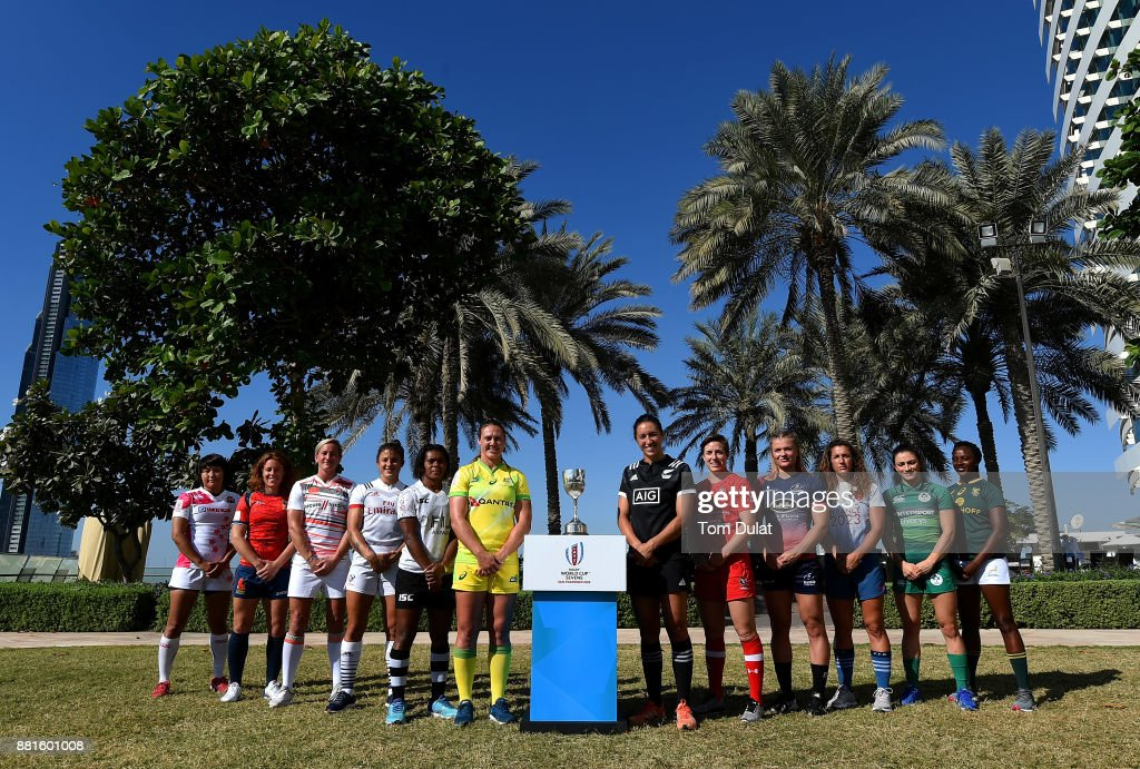 Women's team captains pose for photos with the World Rugby World Cup during the Emirates Dubai Rugby Sevens: HSBC Sevens World Series photocall on November 29, 2017 in Dubai, United Arab Emirates.