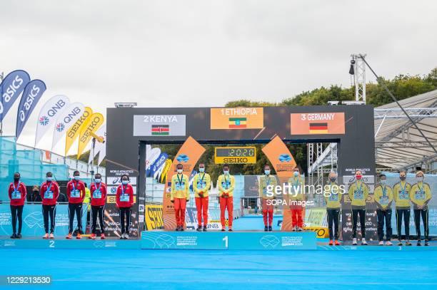 Women's Team medal ceremony of 2020 IAAF World Half Marathon Championships in Gdynia