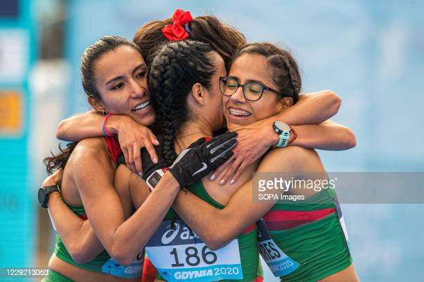 Women's team of Mexico in action during 2020 IAAF World Half Marathon Championships in Gdynia