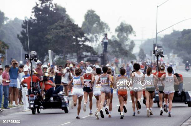 Women's Track marathon competition, Memorial Coliseum, at the 1984 Summer Olympics, August 5, 1984.
