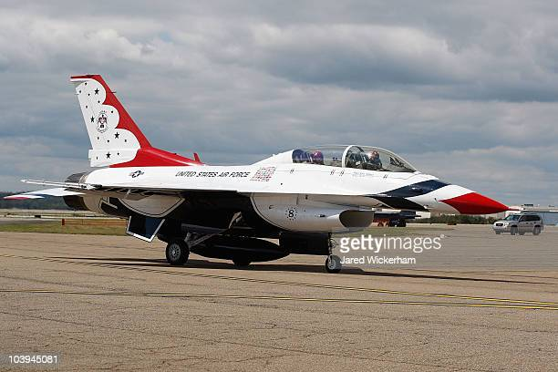 Women's US Open Champion Paula Creamer lands back on base with Kristin 'Mother' Hubbard after flying in an F16 with the US Air Force Thunderbirds on...