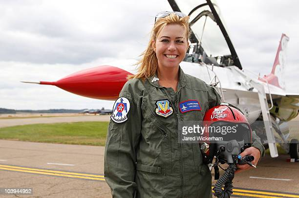 Women's US Open Champion Paula Creamer stands in front of an F16 after flying with the US Air Force Thunderbirds on September 9 2010 at the Air Force...
