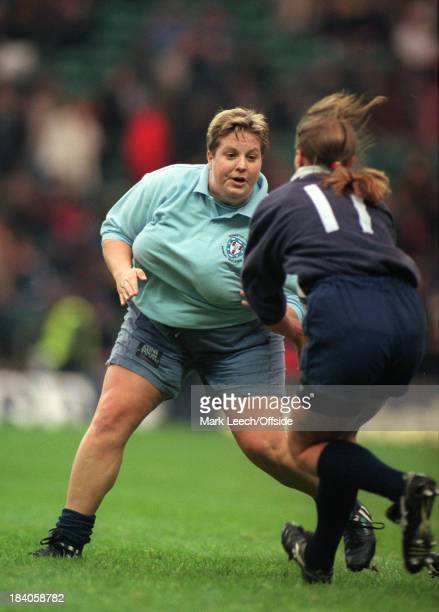 Womens Varsity Rugby Cambridge University v Oxford University A slender Oxford winger has her route blocked by a larger Cambridge prop forward