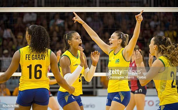 Women's volleyball finalsUSA vs Brazil Brazilian players Fernanda Rodrigues Adenizia Da Silva Rosamaria Montibeller and Macris Carneiro celebrate a...