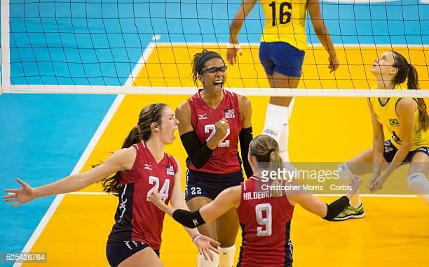 Women's volleyball finalsUSA vs Brazil Carli LloydUSA Rachael Adams and Kristin Lynn HildebrandUSA celebrate a point while Macris CarneiroBrazil...