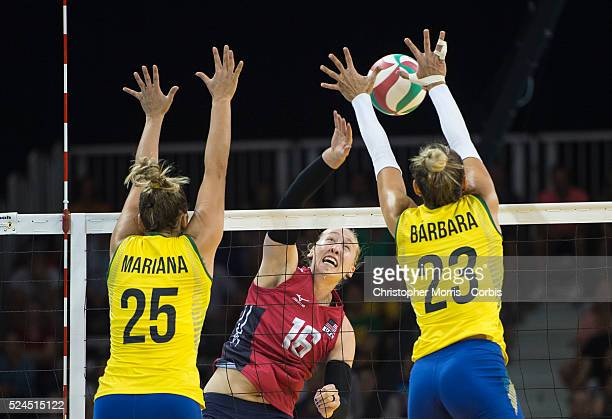 Women's volleyball finalsUSA vs Brazil Mariana CostaBrazil Michelle BartschUSA and Barbara BruchBrazil during competition at the 2015 PanAm Games in...