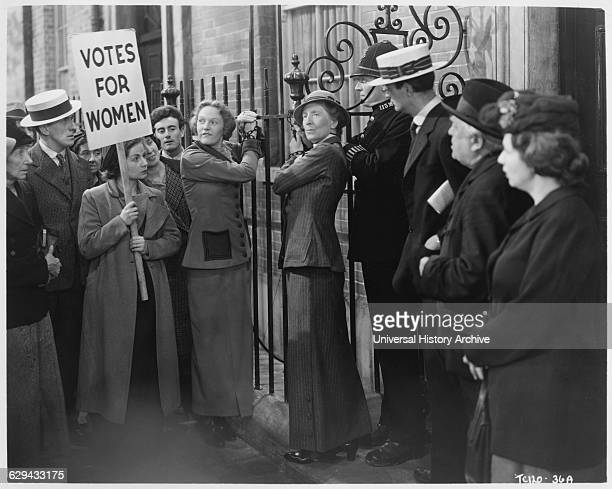 """Women's Voting Rights Protest, on-set of the British Film, """"Fame is the Spur"""", 1947."""