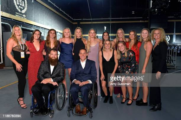 Women's Water Polo players Chuck Melton and Joe Delagrave attend the 2019 Team USA Awards at Universal Studios Hollywood on November 19 2019 in...
