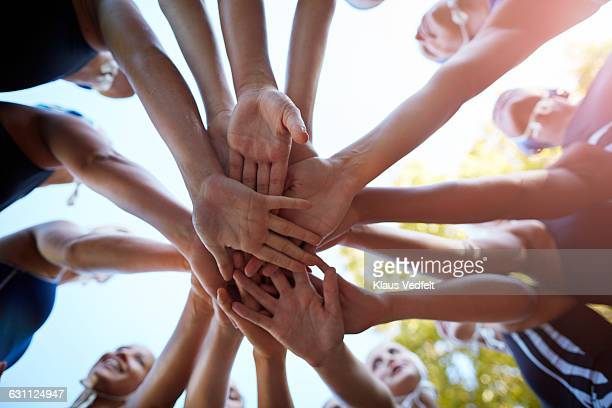 womens waterpolo team joining hands in huddle - dedication stock pictures, royalty-free photos & images
