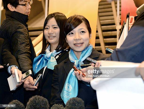 Women's weightlifting silver medalist Hiromi Miyake and Kanae Yagi speak to the reporters after the International Olympic Committee Evaluation...
