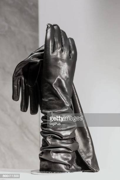 women's winter long evening dress leather gloves - fetisch stock-fotos und bilder