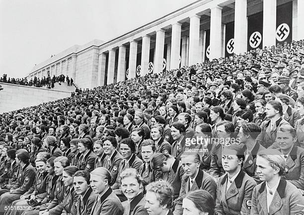 Women's Work Corps attends Nazi Rally at Zeppelin Stadium Germany Undated