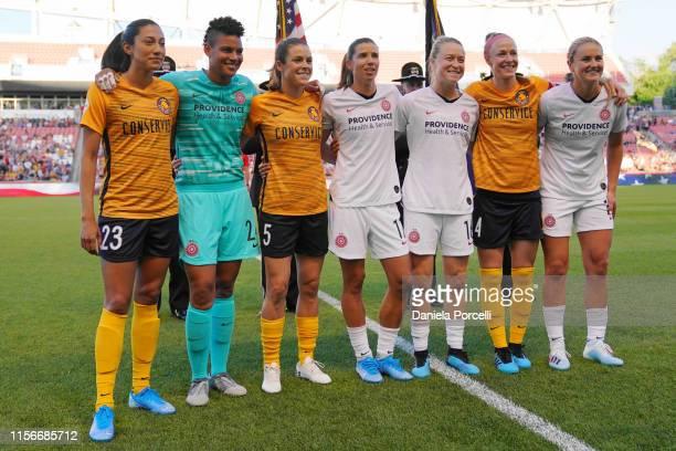 Women's World Cup Champions Christen Press Adrianna Franch Kelley O'Hara Tobin Heath Emily Sonnett Becky Sauerbrunn and Lindsey Horan of the United...