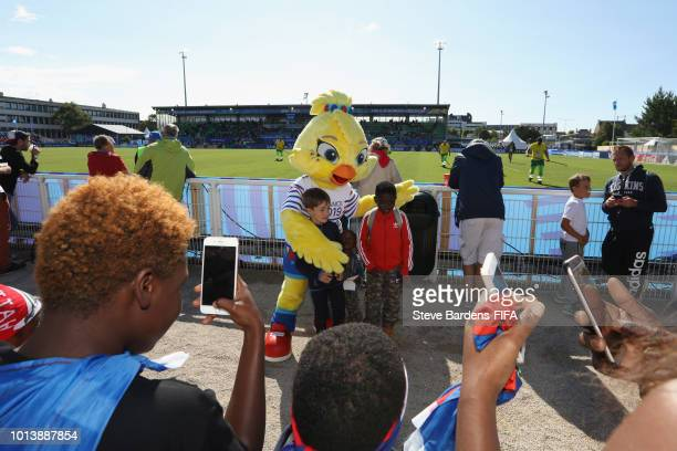 Women's World Cup France 2018 mascot Ettie meets supporters during the FIFA U20 Women's World Cup France 2018 group D match between Haiti and Nigeria...