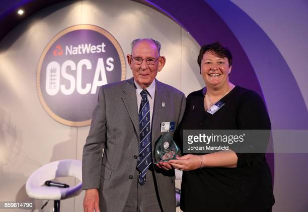 Women's World Cup Umpire Sue Redfern presents the Officiating Umpires Scorers Award to Albert Pagan of Yorkshire during the NatWest OSCAs at Lord's...