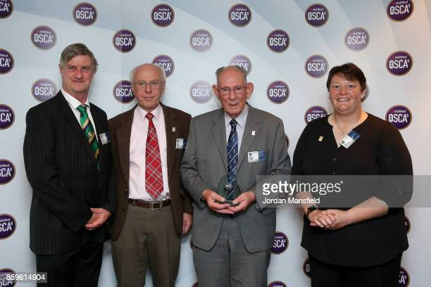 Women's World Cup Umpire Sue Redfern presents the Officiating Umpires Scorers Award to Albert Pagan of Yorkshire Steve Shipcott of Dorset and Alan...