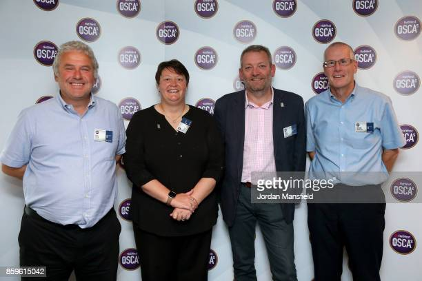 Women's World Cup Umpire Sue Redfern presents the Outstanding Contribution to Coaching Award to Bruce Storey of Northumberland Paul Cook of Essex and...