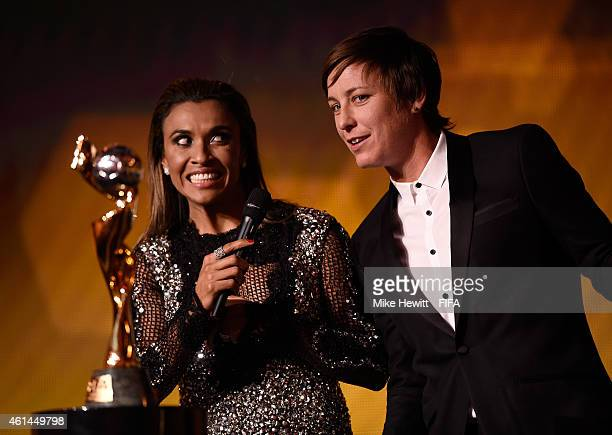 Women's World Player of the Year nominee Marta Vieira da Silva of Brazil and FC Rosengard and fellow nominee Abby Wambach of USA and Western New York...