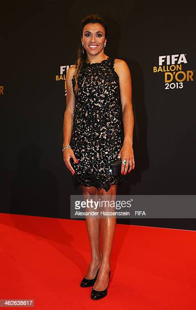 Women's World Player of the Year nominee Marta Vieira da Silva of Brazil and Tyreso FF arrives during the FIFA Ballon d'Or Gala 2013 at the...