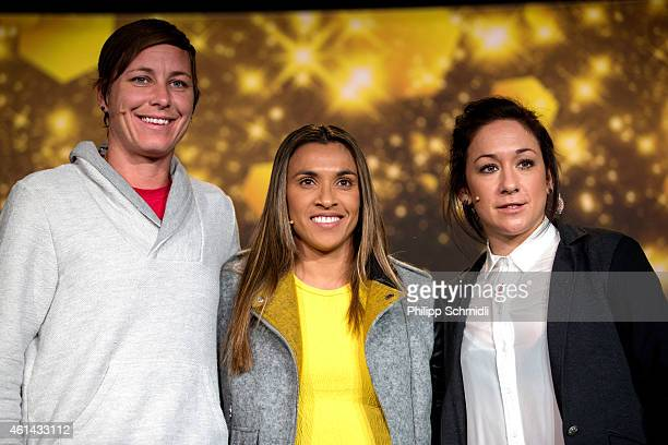 Women's World Player of the Year nominees Abby Wambach of USA and Western New York Flash Marta Vieira da Silva of Brazil and Tyreso FF and Nadine...