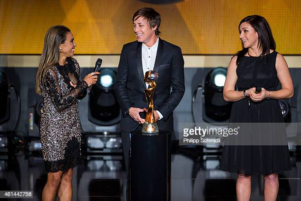 Women's World Player of the Year nominees Marta Vieira da Silva of Brazil and Tyreso FF Abby Wambach of USA and Western New York Flash and Nadine...