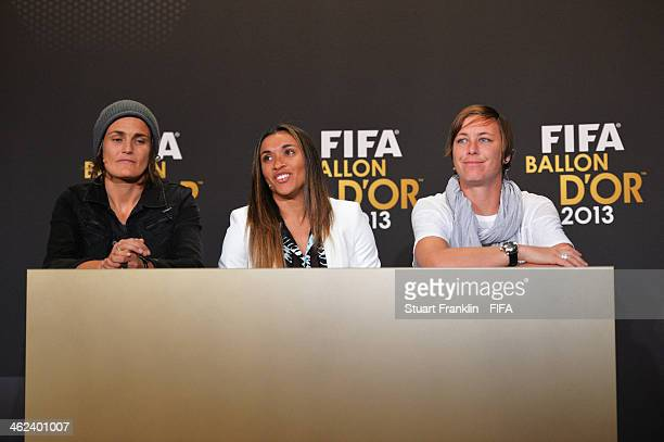 Women's World Player of the Year nominees Nadine Angerer of Germany and Brisbane Roar Marta Vieira da Silva of Brazil and Tyreso FF and Abby Wambach...
