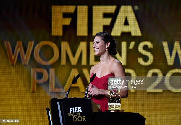 Women's World Player of the Year winner Carli Lloyd of the United States and Houston Dash accepts her award during FIFA Ballon d'Or Gala 2015 at the...